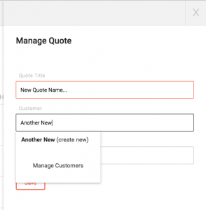 Add quote form with customer field active