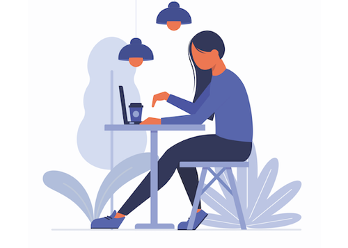vector concept of freelance woman working on laptop